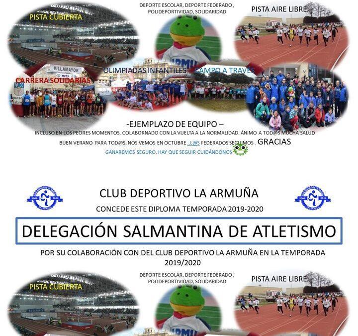 DIPLOMA DEL CLUB DEPORTIVO LA ARMUÑA A LA FEDERACIÓN Y A LA DELEGACIÓN DE ATLETISMO DE SALAMANCA